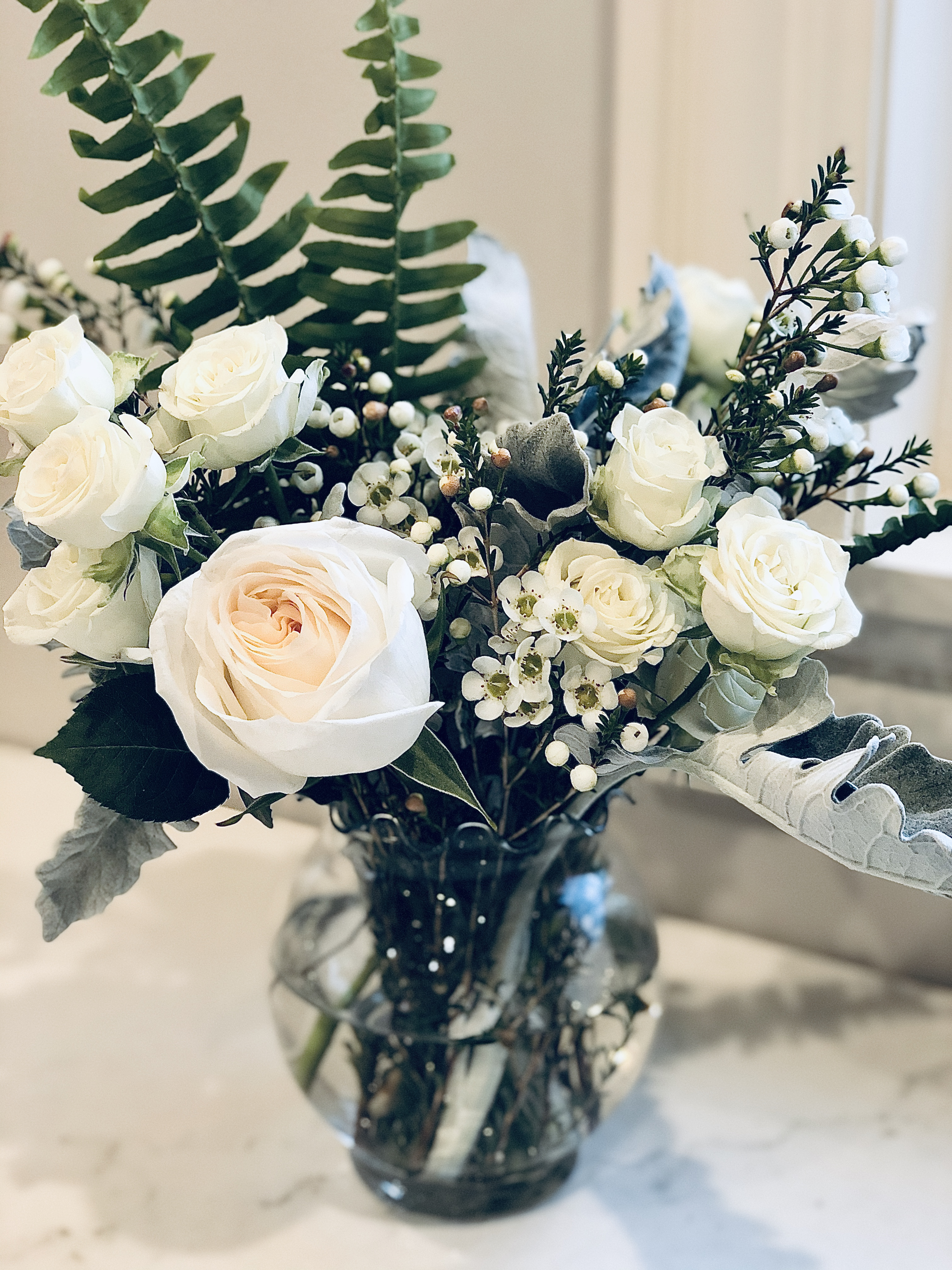 White Roses, Touch of Blush in Vase