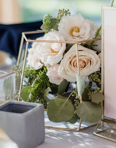 Roses with Geometric Decor
