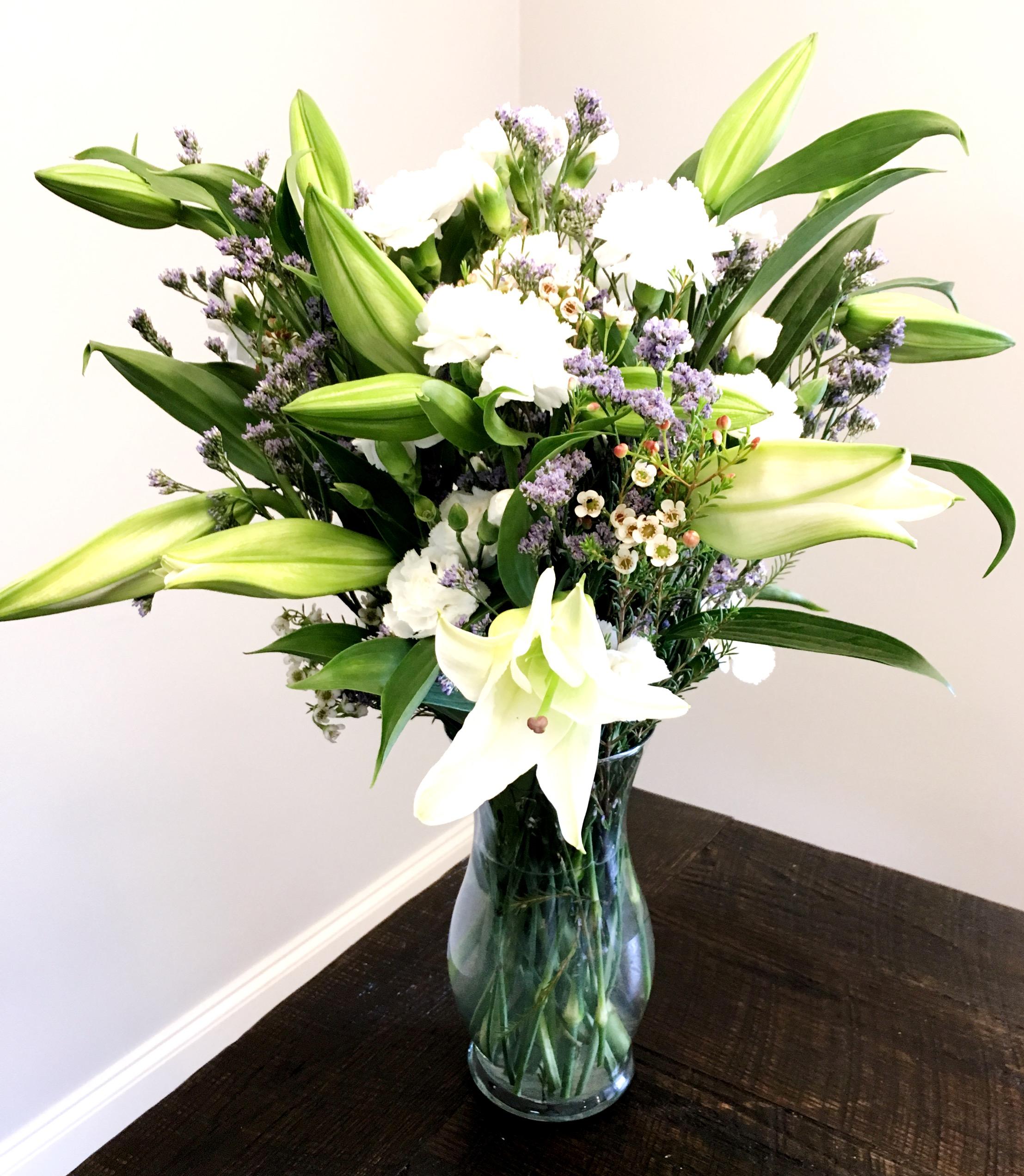 White Lilies & Purple Accent Florals