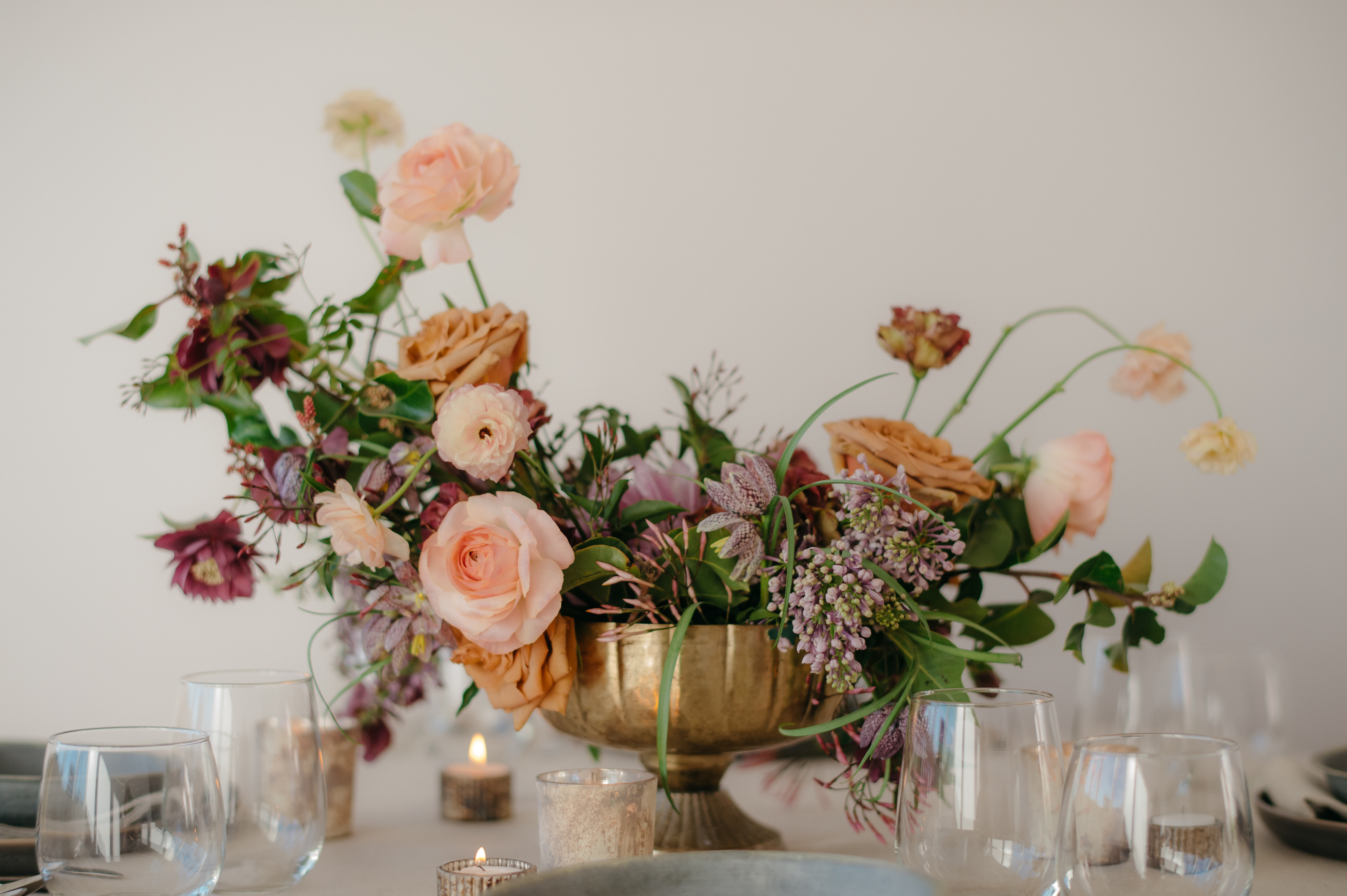 Neutral Toned Florals in Compote