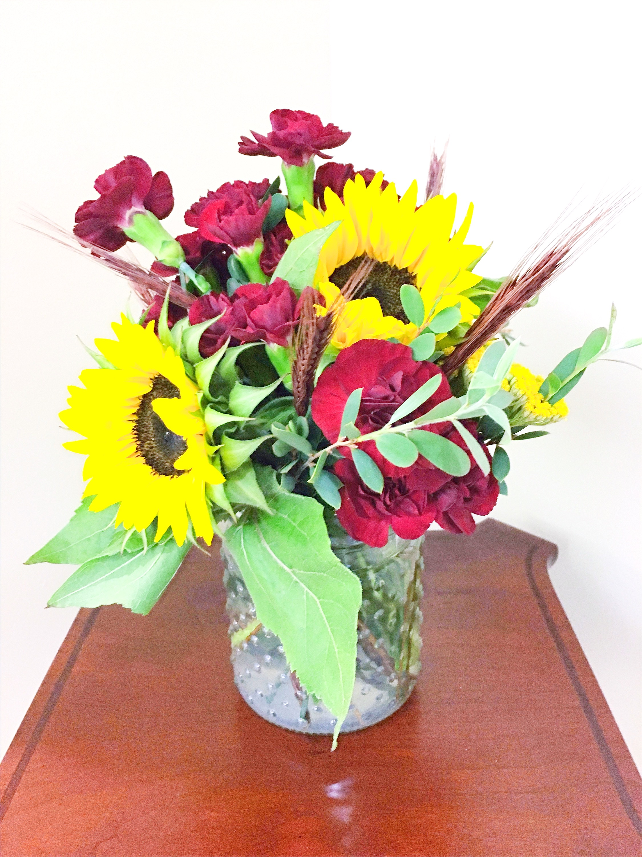 Sunflowers & Burgundy Florals