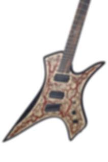Raato Custom Guitars PenetRaatoR Multiscale Fanned Fret Electric Guitar with Lichtenberg Wood Burning Figures - Bare Knuckle Pickups Painkiller - Hipshot Products Inc hardware bridge - BloodRed Glitter Veins