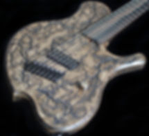 Raadotar 7-string multiscale electric guitar - raato custom guitars - bare knuckle pickups painkiller - hipshot products inc hardware - lichtenberg wood burning figures on guitar body and headstock - custom kitara suomesta - made in finland