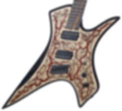 Raato Custom Guitars PenetRaatoR Multiscale Fanned Fret Electric Guitar with Lichtenberg Wood Burning Figures - Bare Knuckle Pickups Painkiller - Hipshot Products Inc hardware bridge - BloodRed Glitter Veins