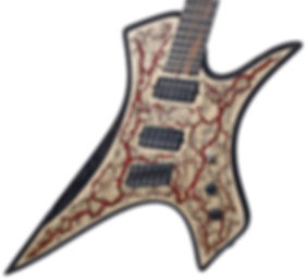 Raato Custom Guitars PenetRaatoR Multiscale Fanned Fret Electric Guitar with Lichtenberg Wood Burning Figures - Bare Knuckle Pickups Painkiller - Hipshot Products Inc hardware bridge - BloodRed Glitter Veins - one of a kind - unique guitar - playing comfort tone unique looks