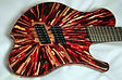 red glitter red dye epoxy cast wood explosion guitar art custom guitars