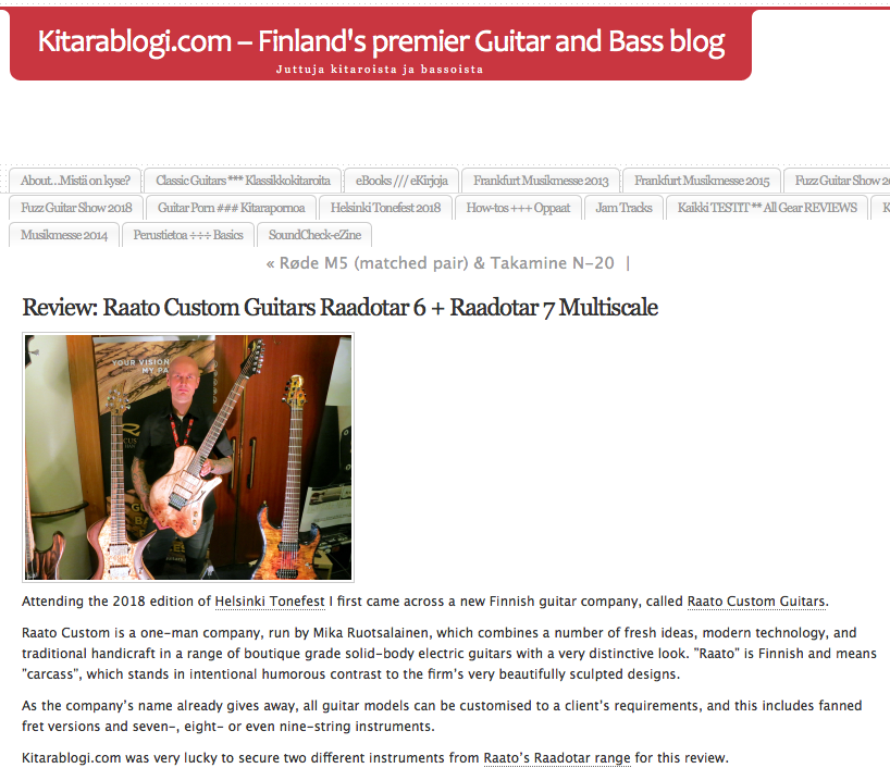 kitarablogi.com Raato Custom Guitars Review