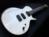 Raato Custom Guitars LeFrohmage Electric Guitar Bleached White Figured Maple Top Lichtenberg wood burning Sides and back