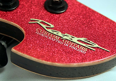 Raato Custom Guitars Logo on Raadotar - Red Glitter