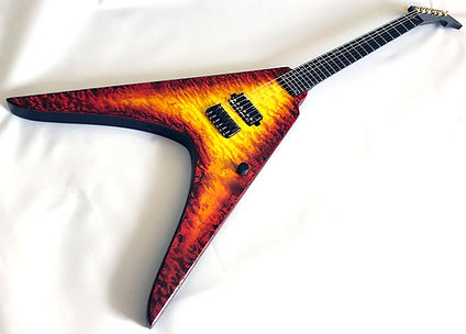 Raato Custom Guitars Emperor V Electric guitar, Flying V, Ultimate flying v guitar, v-shape guitar, Quilted maple top, Fire burst, guitar porn, guitar art, custom design, bare knuckle pickups ragnarok, Hipshot products hardware, kitara, sähkökitara, custom kitara, suomalainen soitinrakentaja, made in finland