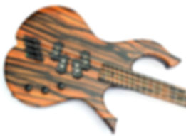raato custom guitars raato bass 4-string multiscale bass guitar 36 34 - custom bass - electric bass guitar - Hipshot Solo Rail bridge - Hipshot Licensed Ultralite - Delano Pickup Systems - Delano MC4 FE precision bass pickups - dual p - double p - precision pickup on bridge position - reversed precision pickup - exotic ebony bass - custom design bass guitar - unique bass guitar - beautiful bass vibraator