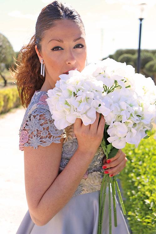 vestido único y exclusivo, modelo amapola en rosa y gris, Maria Pla