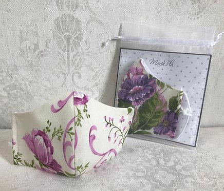 Mascarilla flores violeta