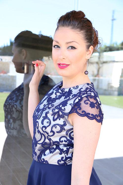vestido único y exclusivo, modelo amapola en marino, Maria Pla