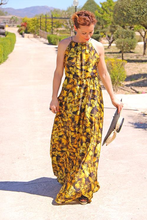 vestido largo exclusivo, modelo dalia amarillo y negro, maria pla