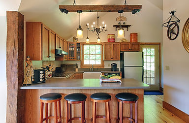 Kitchen with bar stools