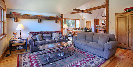 Living Room with sled coffee table