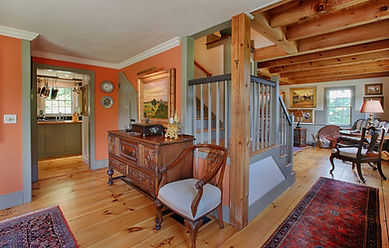 Vermont House living room and stairs