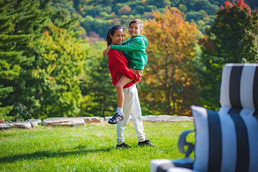 Happy Mom and Son in Vermont