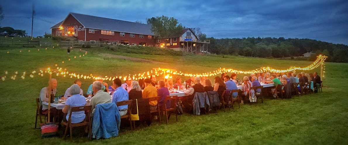 Dining outside on farm