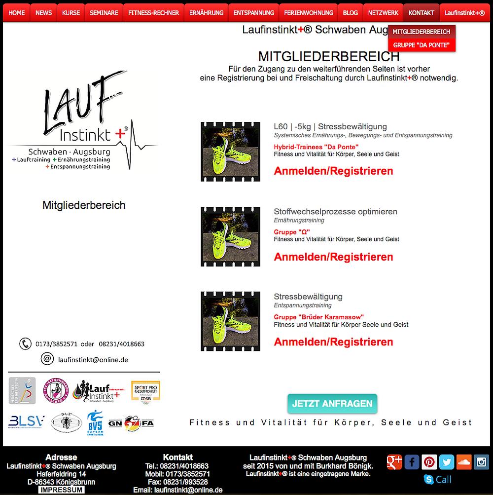 Laufinstinkt+® Schwaben Augsburg - Hybridkurse Mitgliederbereich