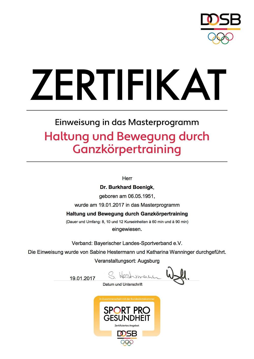 Laufinstinkt+ Schwaben Augsburg - DOSB-Zertifikat Haltung und Bewegung durch Ganzkörpertraining