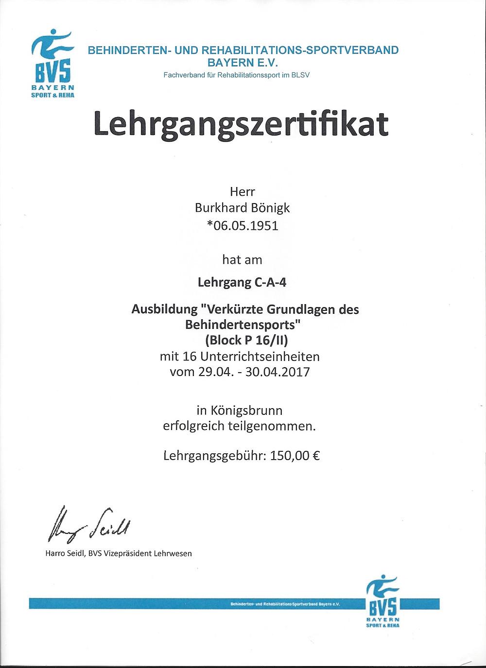 Laufinstinkt® Schwaben Augsburg - Übungsleiter Reha-Sport Zertifikat P16