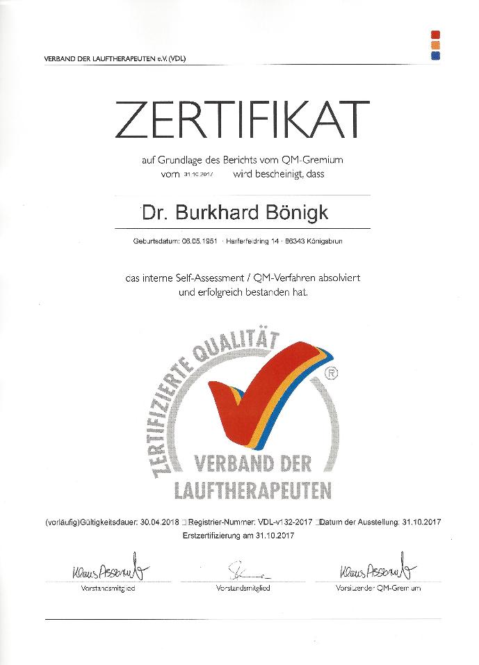 Laufinstinkt+® Schwaben Augsburg - Dr. Burkhard Boenigk - Zertifikat QM-System Verband der Deutschen Lauftherapeuten VDL®