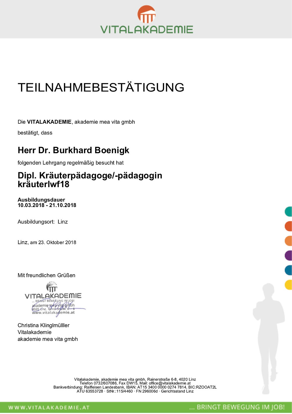 Laufinstinkt.de Dr. Boenigk Kräuterpädagoge Teilnahmebescheinigung