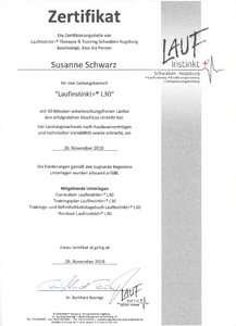 Laufinstinkt.de - LAUFTHERAPIE + ÖKOTROPHOLOGIE Zertifikat