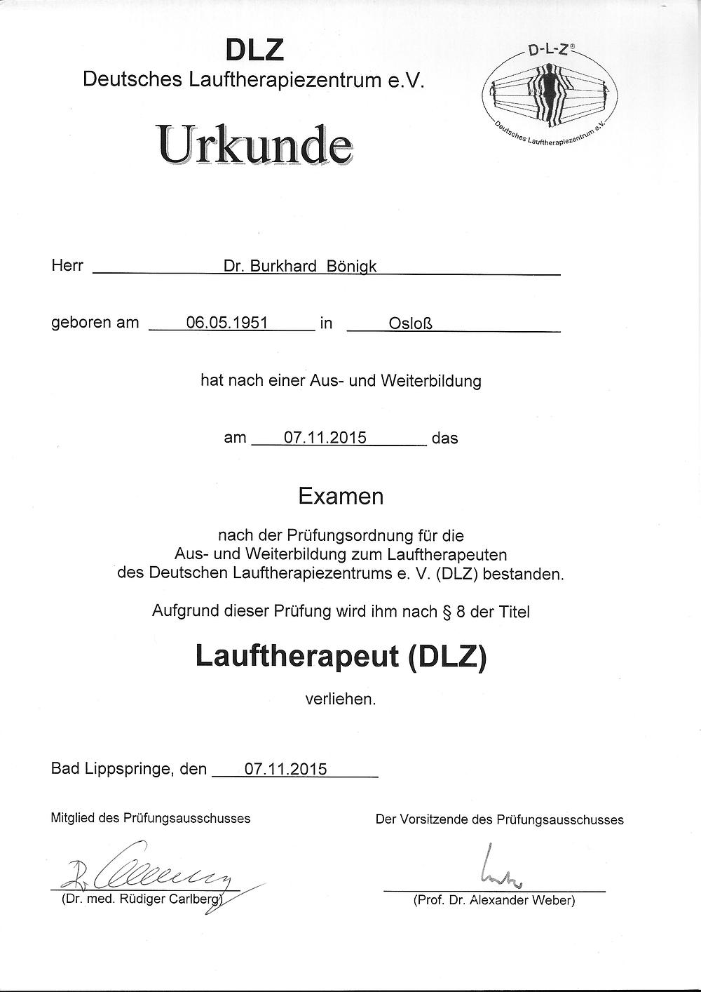 Laufinstinkt+® Schwaben Augsburg - Dr. Burkhard Boenigk - Urkunde Lauftherapeut DLZ®