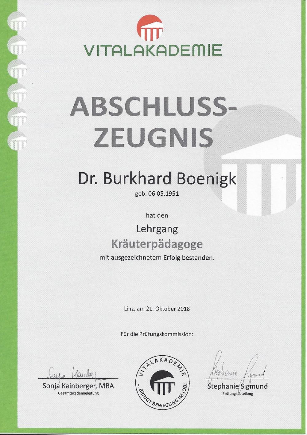 Laufinstinkt.de - Kräuterpädagogik - Dr. Burkhard Boenigk - Abeschlusszeugnis