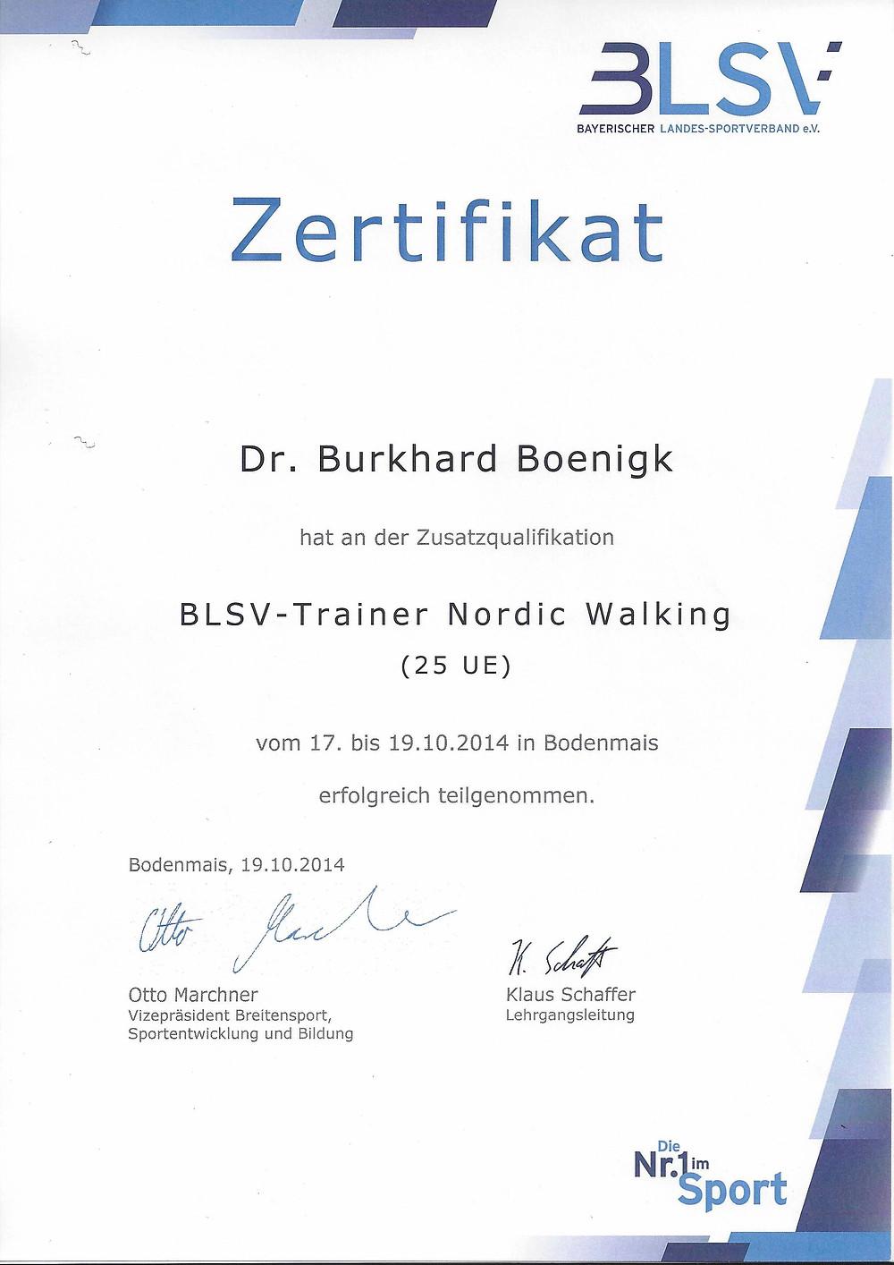 Laufinstinkt Schwaben Augsburg - BLSV-Trainer Nordic Walking