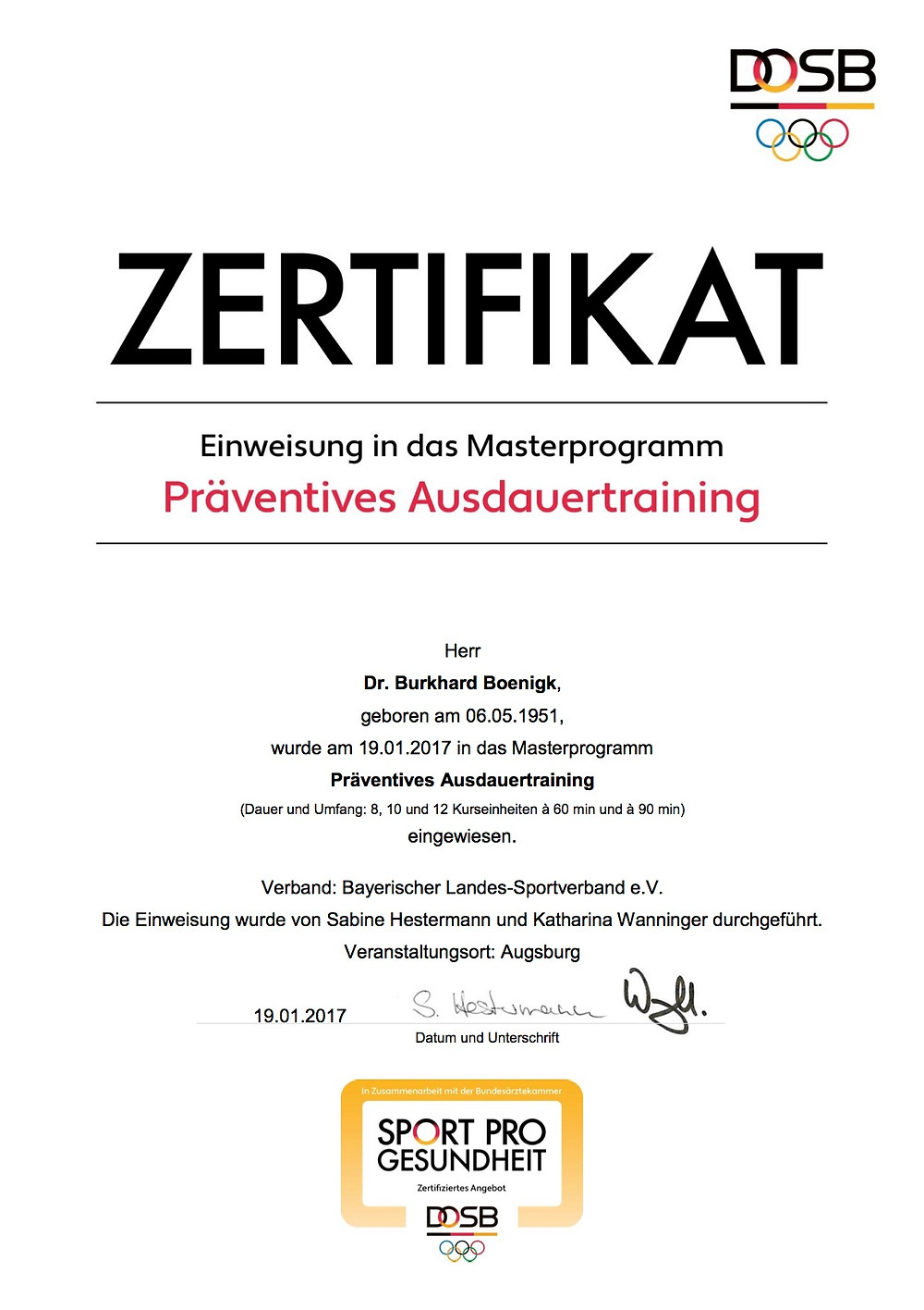 Laufinstinkt+ Schwaben Augsburg - DOSB-Zertifikat Präventives Ausdauertraining
