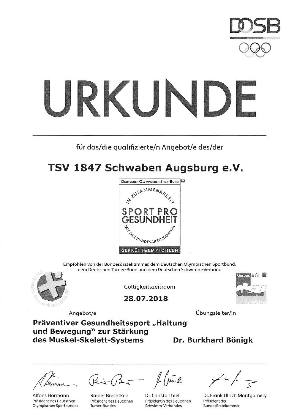 Laufinstinkt Schwaben Augsburg - Sport Pro Gesundheit - Urkunde 2