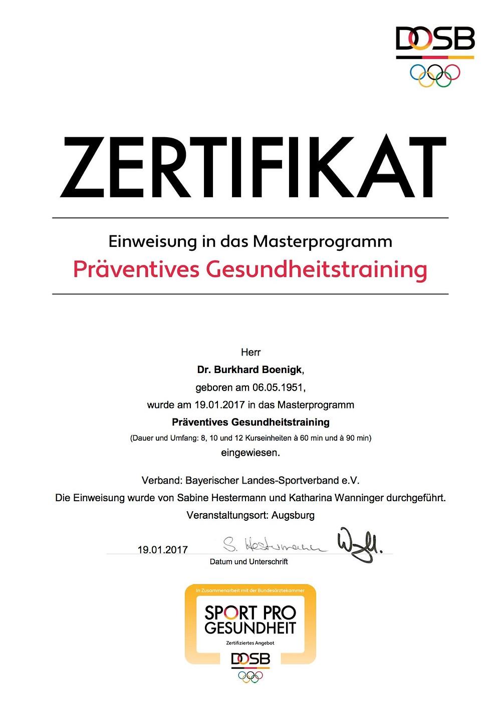 Laufinstinkt+ Schwaben Augsburg - DOSB-Zertifikat Präventives Gesundheitstraining