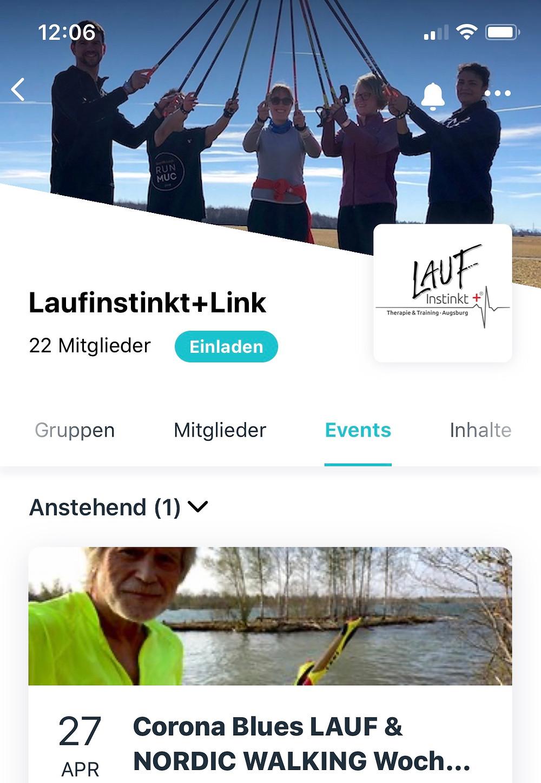 Start-Bild auf der mobilen App Laufinstinkt+Link