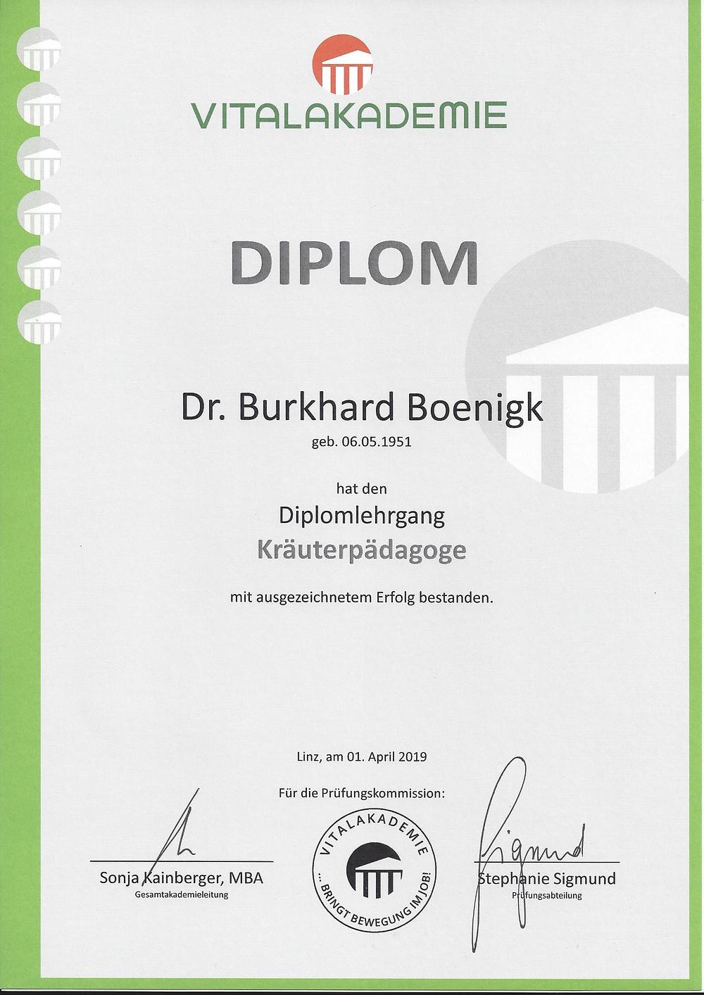 Laufinstinkt.de - Kräuterpädagogik - Dr. Burkhard Boenigk - Diplomurkunde