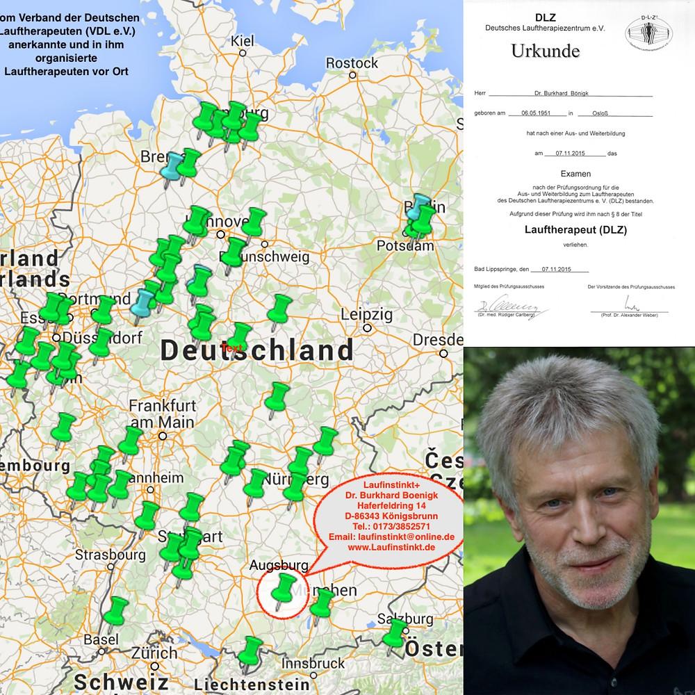 Laufinstinkt+ Links: Standorte der im VDL organisierten und praktizierenden ordentlichen Lauftherapeuten (grün) und Laufgruppenleiter (blau) in Deutschland vor Ort - Stand 16. November 2015 (Quelle: VDL e.V.). Rechts oben: Zertifikat Lauftherapeut (DLZ)®. Rechts unten: Dr. Burkhard Boenigk