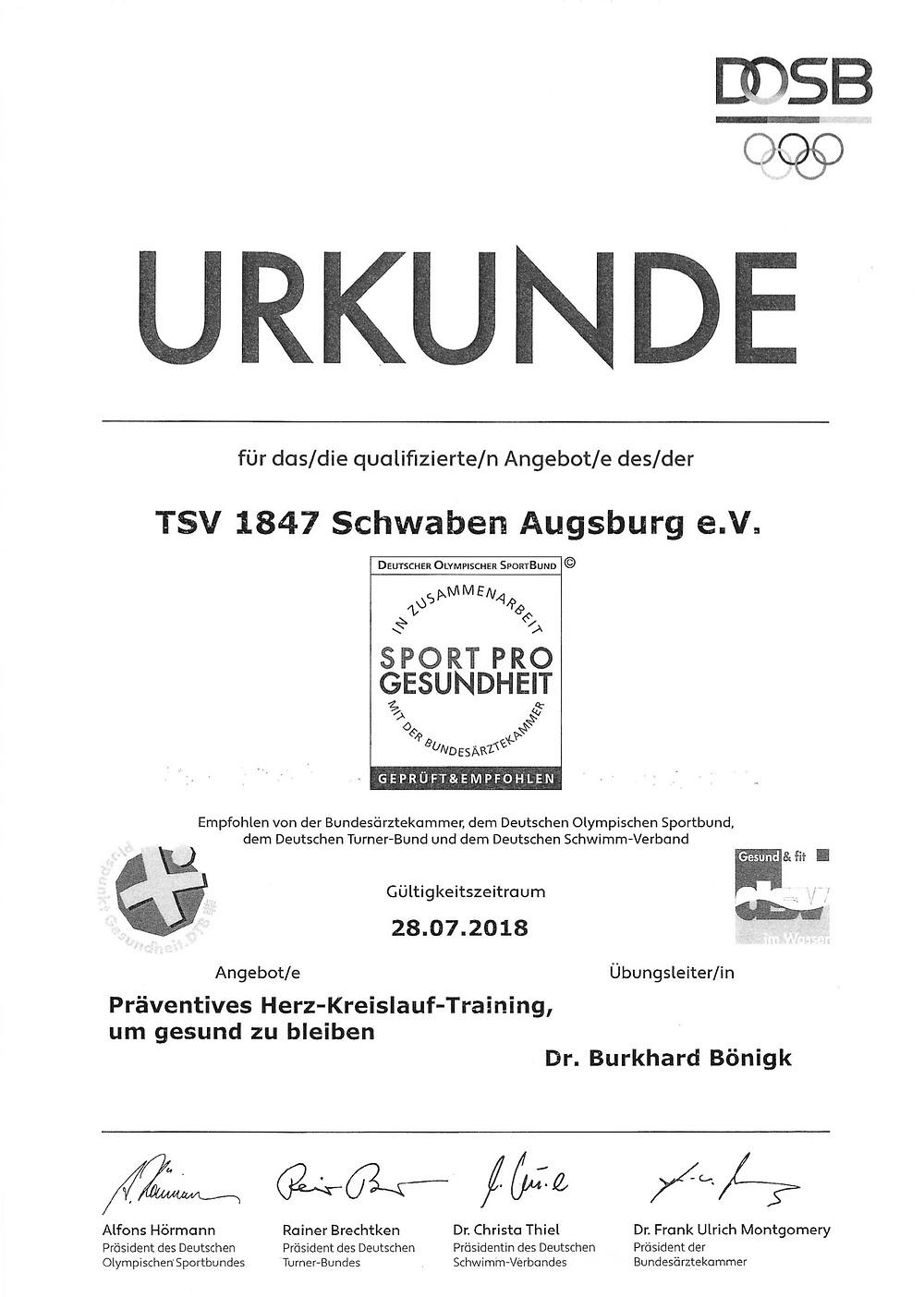 Laufinstinkt Schwaben Augsburg - Sport Pro Gesundheit Urkunde 1