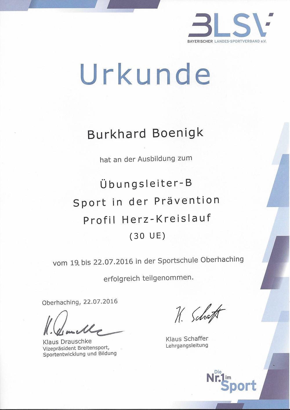 Laufinstinkt Schwaben Augsburg - BLSV-Übungsleiter-B Sport in der Prävention - Herz-Kreislauf-Training