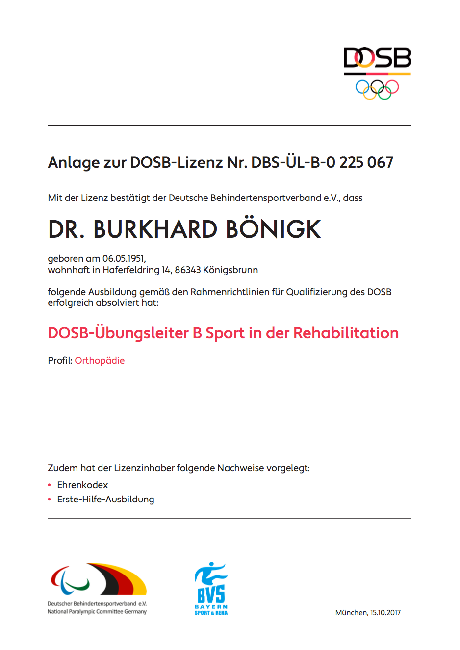 Dr. Burkhard Boenigk Übungsleiter-B Reha-Sport DOSB® Lizenz 2/2