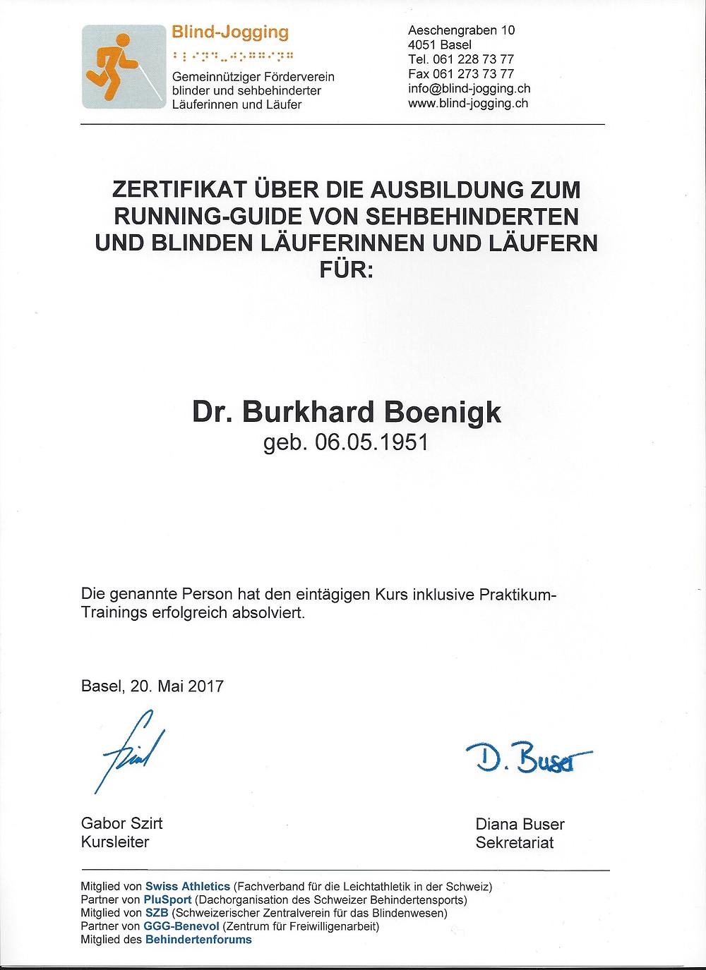 Laufinstinkt+® Augsburg - Dr. Burkhard Boenigk - Blind-Jogging-Guide Zertifikat