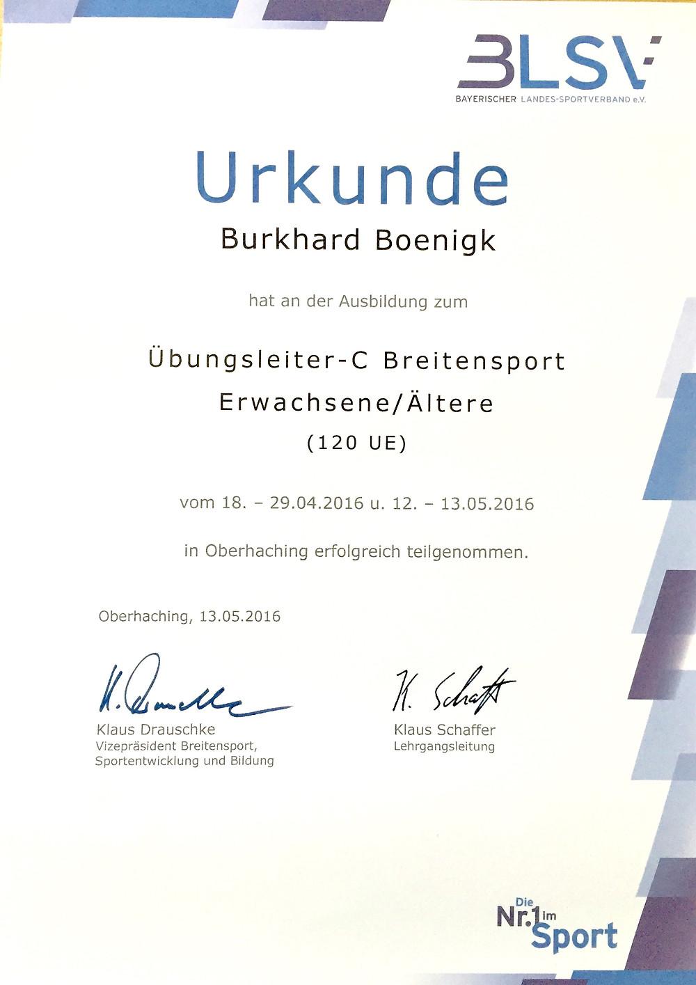 Laufinstinkt+ BLSV Übungsleiter-C Breitensport - Urkunde