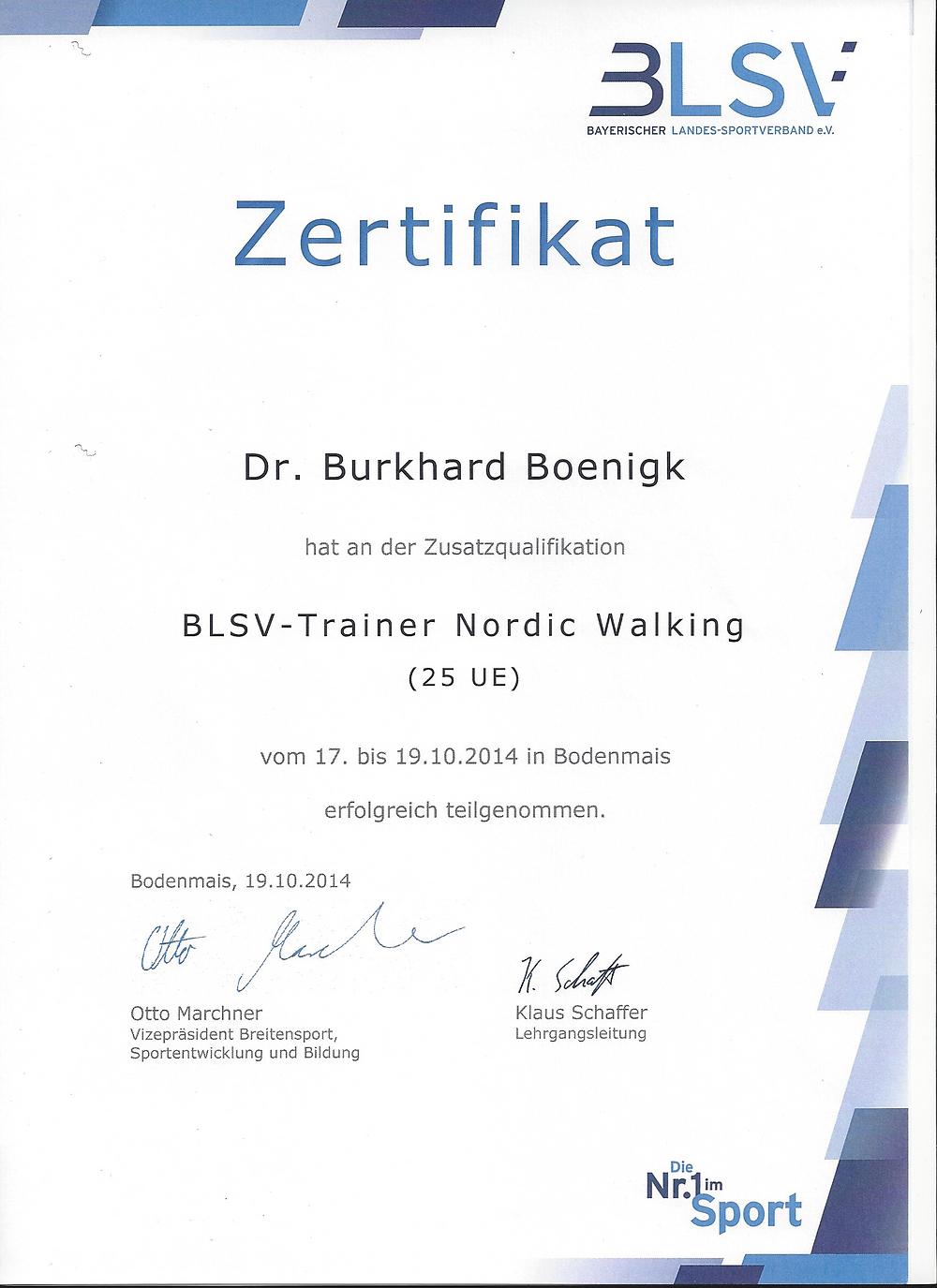 Laufinstinkt+ BLSV-Trainer Nordic Walking - Zertifikat