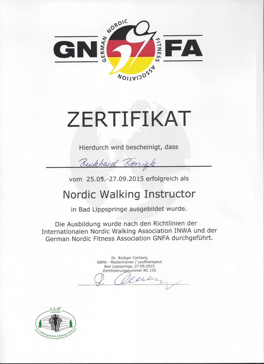 Laufinstinkt+ Nordic Walking Instructor GNFA - Zerifikat