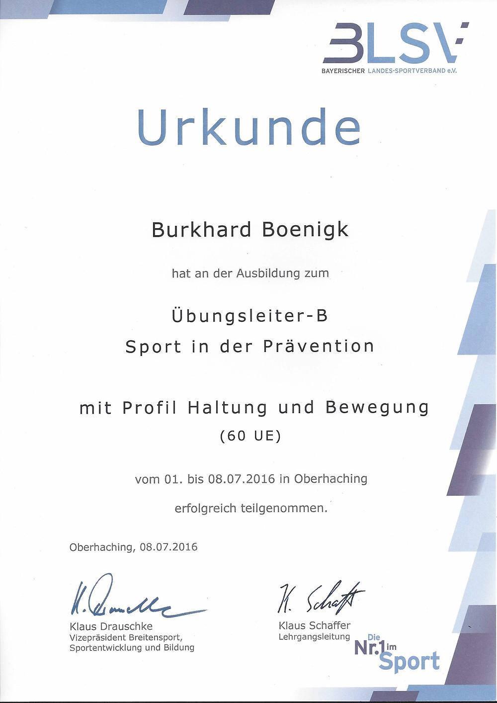 Laufinstinkt Schwaben Augsburg - BLSV-Übungsleiter-B Sport in der Prävention - Haltung und Bewegung