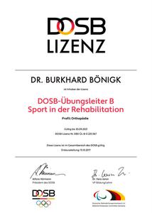 Dr. Burkhard Boenigk Übungsleiter-B Reha-Sport DOSB® Lizenz 1/2
