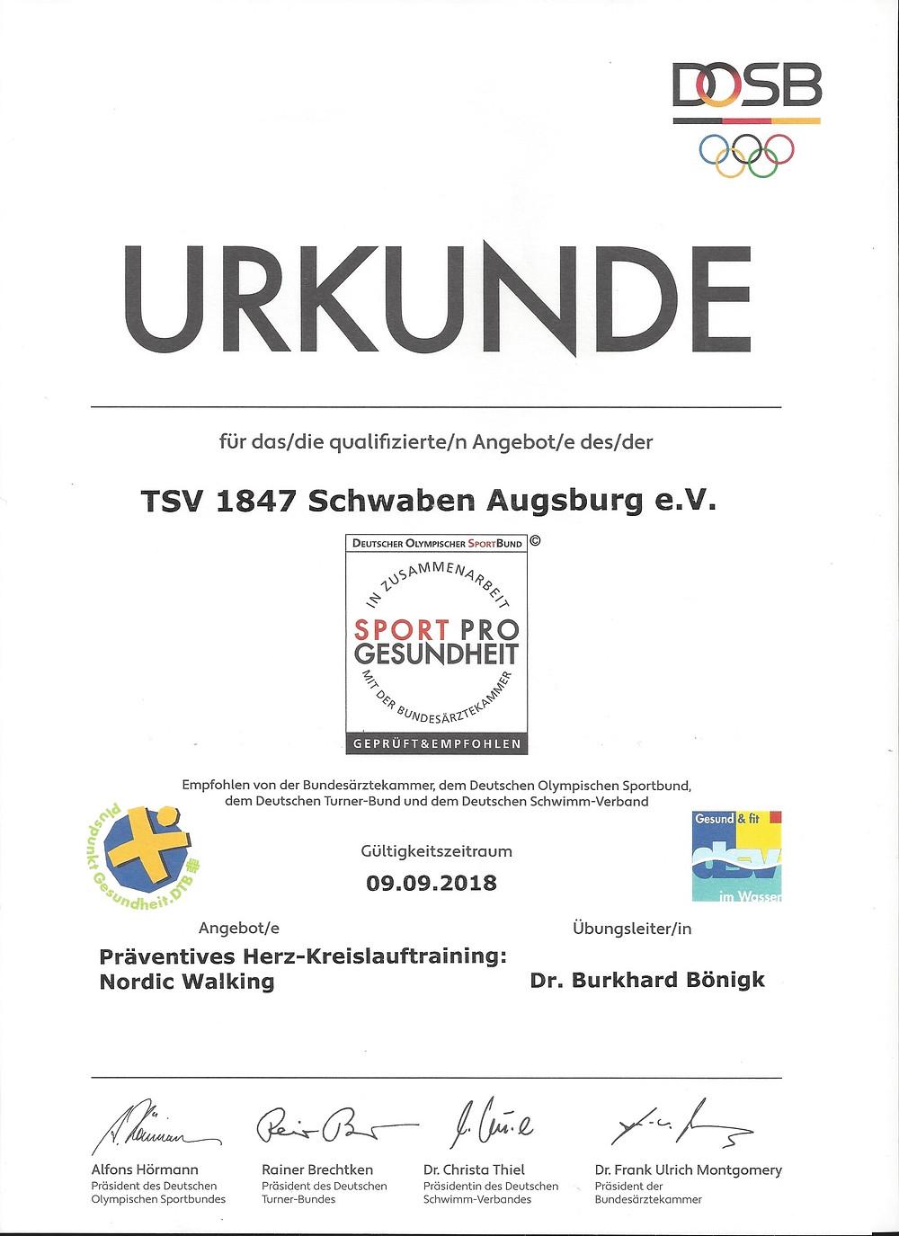 """Laufinstinkt Schwaben Augsburg - Nordic Walking als präventives Herz-Kreislauftraining, ausgezeichnet mit dem Qualitätssiegel """"Sport Pro Gesundheit"""" Bild 1"""