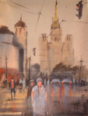 картина акварелью город